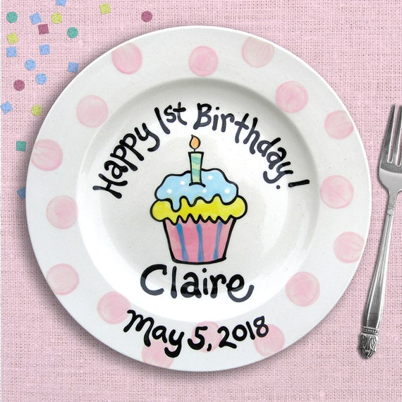 Pink Polkadot Cupcake Plate - 1st Birthday - Kids Birthday Party - First Birthday Personalized Pottery Plate -  Happy 1st Birthday Gift