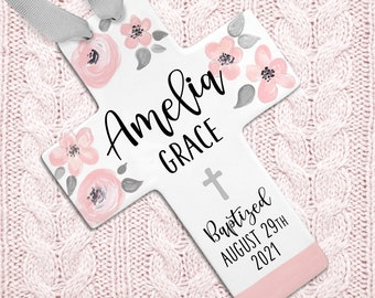Cross for Baptism - Personalized Baptism Cross - Pink Blush and Gray - Baptism Gift Girl - Girl Baptism Gift Godparents