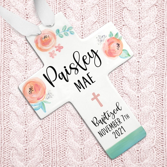 Personalized Baby Girl Baptism Cross, Floral Watercolor Coral Roses, Gift from Godmother for Goddaughter, Gift for Godchild, New Baby Girl