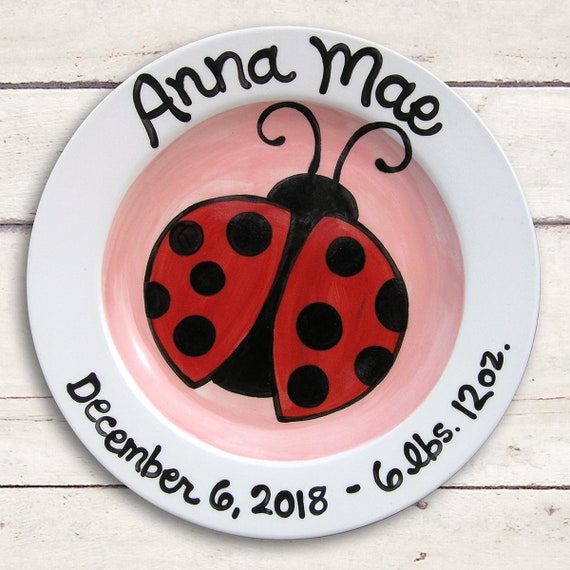 Lady Bug New Baby Plate - Lady Bug Baby Shower - Lady Bug Birthday Party - Lady Bug Art - Love Bug - Baby Girl Gift - Personalized Baby -