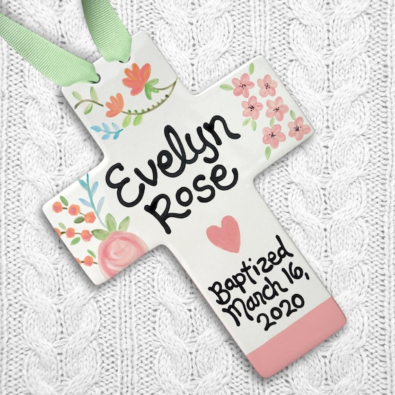 Personalized Baptism Cross - Pink Floral Godchild Gift - Baptism Gift Girl - First Communion - Confirmation Baptism Gift from Godmother