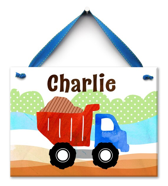 Ceramic Name Sign , Dump Truck Art, Personalized Kids Door Sign