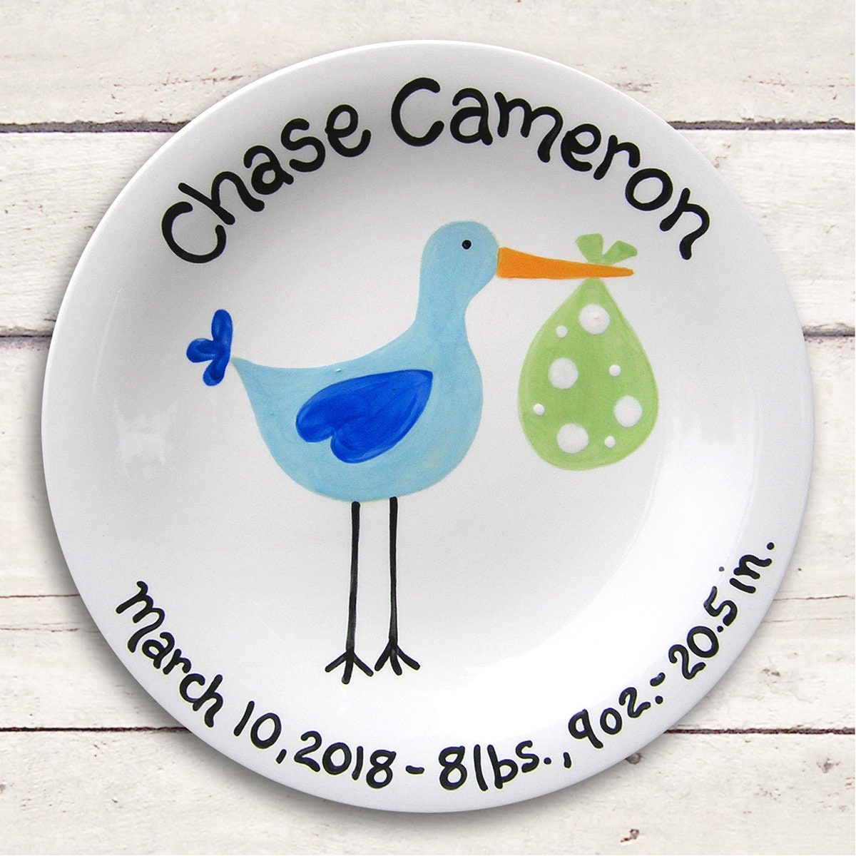 Baby stork ceramic plate hand painted baby gift stork baby baby stork ceramic plate hand painted baby gift stork baby shower sassy stork baby boy personalized gift for newborn new baby negle Choice Image