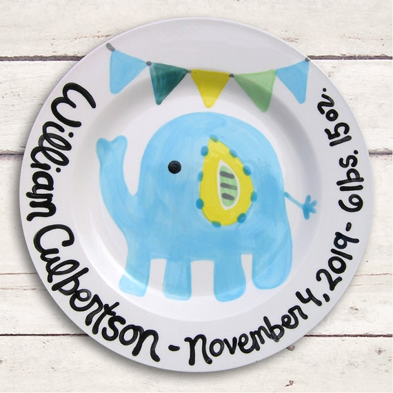 Personalized Baby Gifts - Baby Boy - Baby Plate - Personalized Baby Heirloom - Blue Elephant Baby Plate - Baby Boy Gift Personalized