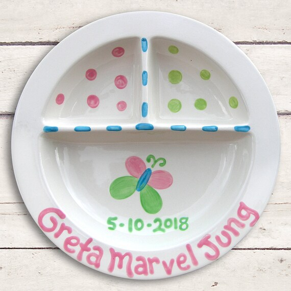 Unique Baby Gift - Pink Butterfly - Baby Shower Gift - Baby Keepsake - Butterfly Party - Ceramic Plate - Butterfly Baby - Divided Plate