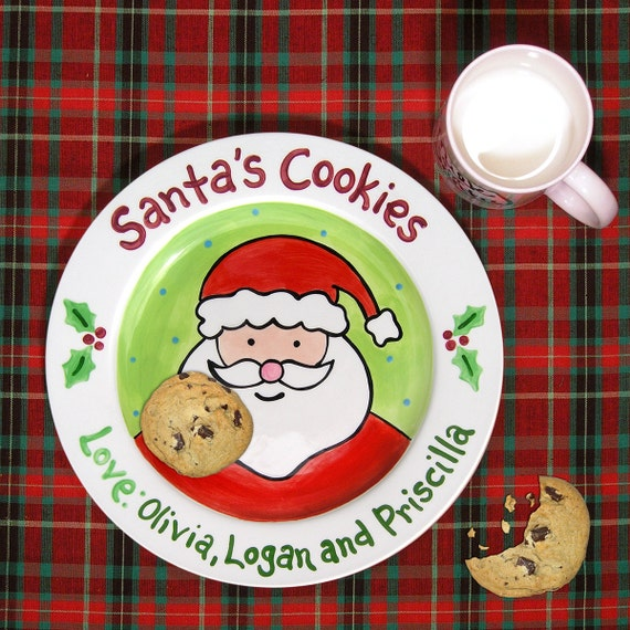 Cookies for Santa Plate - Kids Personalized Ceramic Plate - Hand Painted - Merry Christmas - Milk for Santa Mug