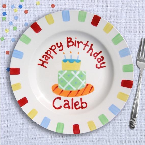 Kids Birthday Party - Custom Birthday Plate -   Cake Plate  -  Hand  Painted Ceramic -  Personalized Birthday