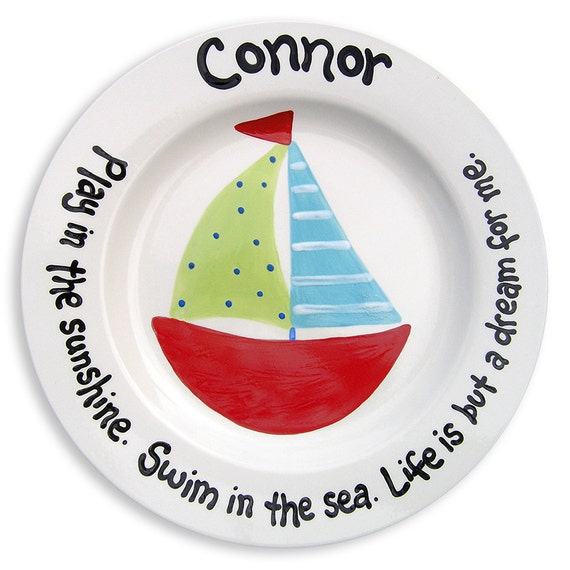 Nursery Nautical Personalized Plate  Hand Painted   Baby Boy Sailboat   Baby Gift - Shower Gift - Personalized Kids Decor