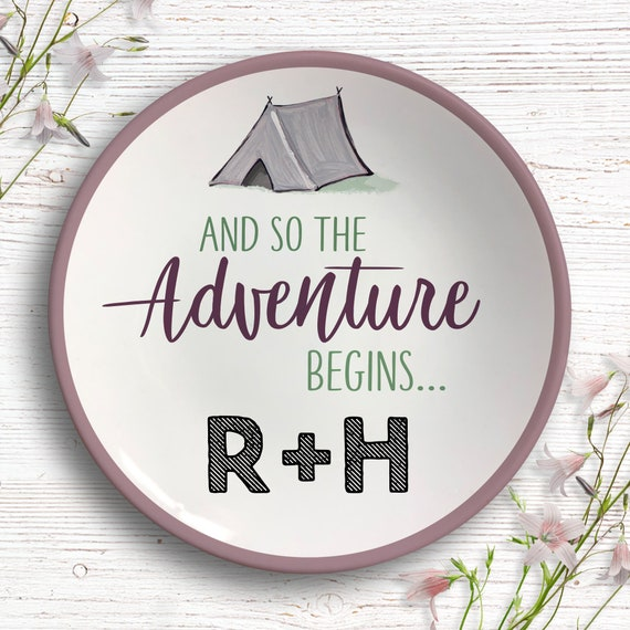 Jewelry Dish - Adventure Awaits Ring Dish - Camping Couple Gift - Engagement Gift - Wedding Gift - Outdoors Travel Gift - Personalized Gift