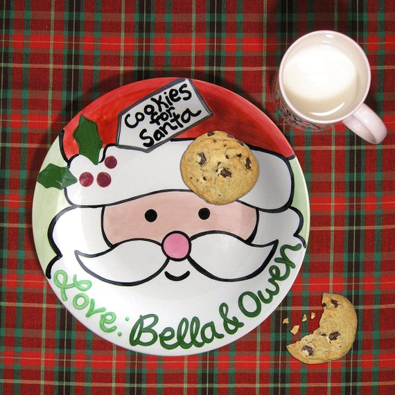 Cookies for Santa Plate - Kids Personalized Ceramic Plate - Hand Painted - Milk for Santa Mug