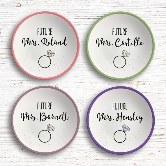 Mrs Ring Dish - Gift for Bride to Be - Engagement Gift - Future Mrs Jewelry Dish - Wedding Ring Dish - Mrs to Be Gift - Bridal Shower Gift