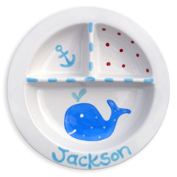 Ocean Preppy Boy - Personalized Plate -  Preppy Baby Decor - Divided Plate - Under the sea whale
