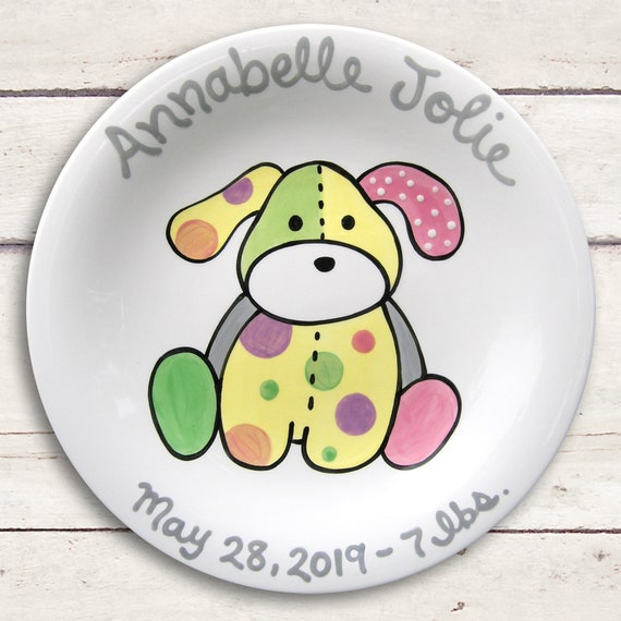Newborn Baby Gift - Personalized Ceramic Plate - Hand Painted -  Shower Gift - Baby Girl or Baby Boy Gift