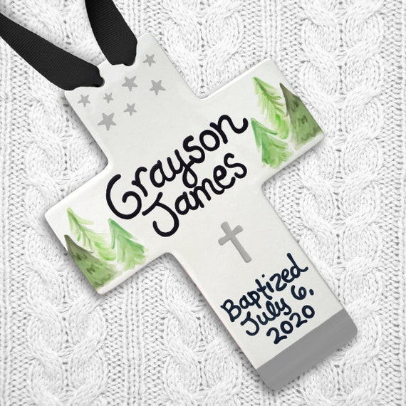 Baptism Gift Boy - Personalized Cross - Rustic Baptism Gift - Rustic Baptism Decor - Godparent Gift - Godson Gift - Dedication Gift for Boy
