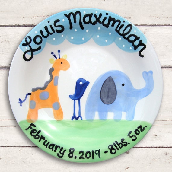 Personalized Blue Baby - New Baby Gift - Safari Baby Boy - Blue Nursery Decor - Personalized Baby Plate - Baby Birth Keepsake - Hand Painted
