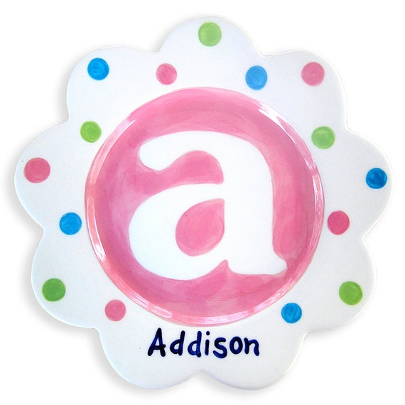 Personalized  Hand Painted Monogram Initial Ceramic kids Plate  Baby Gift   Polkadot Pink Blue