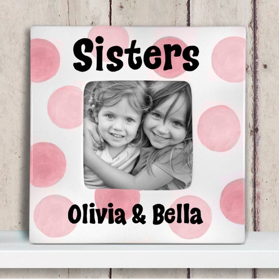 Sisters Personalized Picture Frame - Hand Painted Ceramic