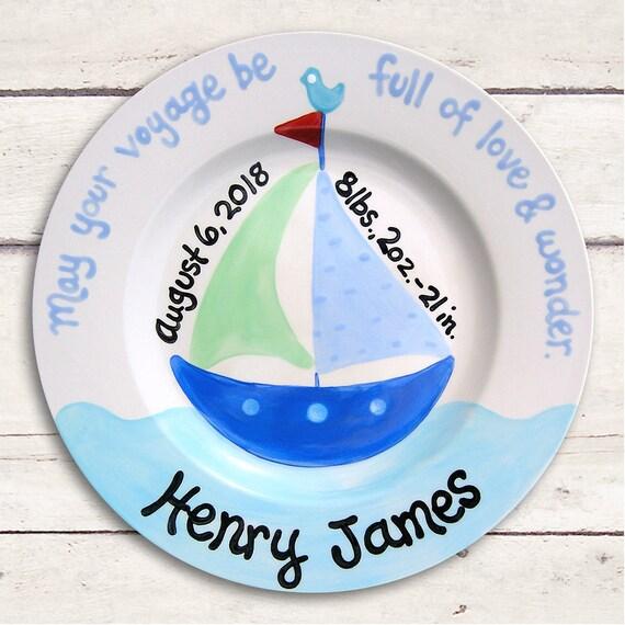 Nautical Baby Boy - Nautical Nursery - Personalized Baby Plate - Baby Boy Gift -  Nautical Baby Shower - Newborn Giftt - Baby Gift - Blue
