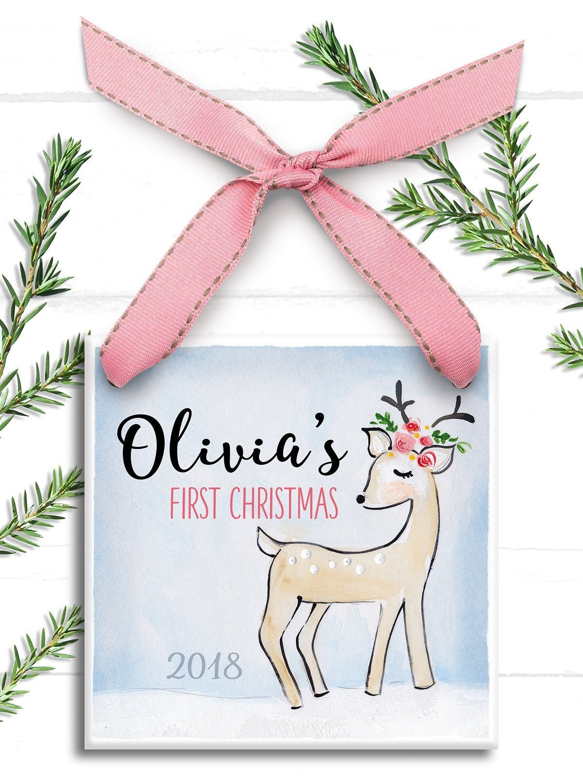 babys first christmas ornament personalized childrens ornament little deer baby 1st christmas ornament baby girl trim the tree