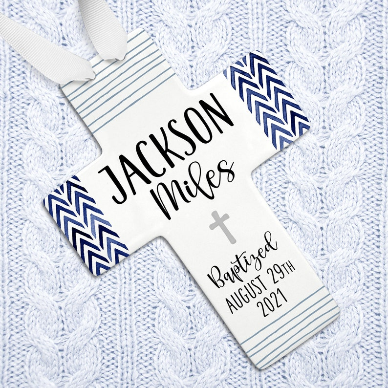 Nautical Baptism Cross Personalized Navy and White Baptism Gray cross