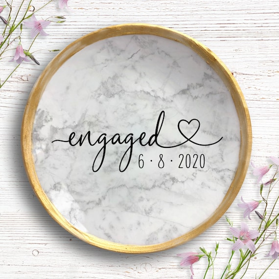 Ring Dish Engagement - Personalized Engagement Gift - Engagement Ring Holder - Engagement Gifts for Couple - Trinket Dish - Gift For Bride