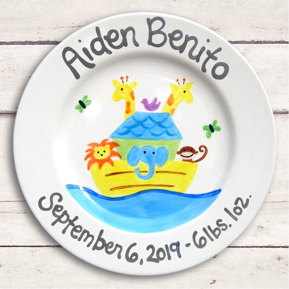 Birth Announcement Personalized Ceramic Plate - Noah's Ark  -  Unique  Baby Girl Boy - Nursey Decor  Baptism Christening Keepsake