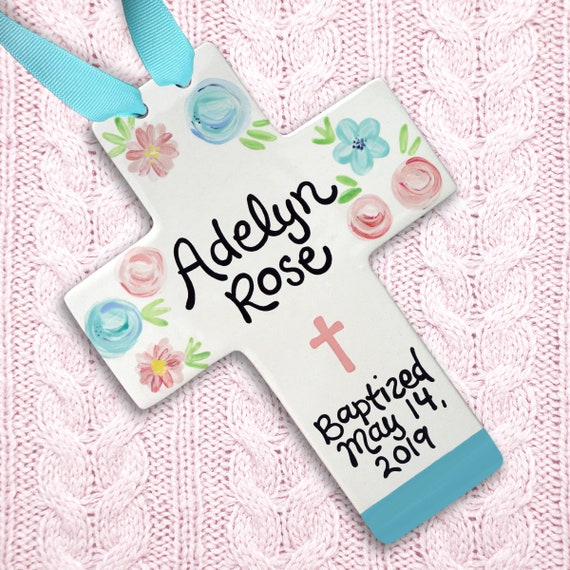 Baby Baptism Cross - Blush Pink and Aqua - Baby Girl Personalized Gift - Unique Baptism Gift for Girl - Confirmation Gift - Goddaughter Gift