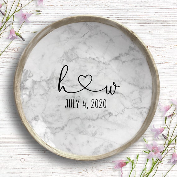 Personalized Ring Dish - Engagement Ring Dish - Engagement Gift - Engagement Jewelry Dish - Wedding Gifts For Couple - Marble Ring Holder