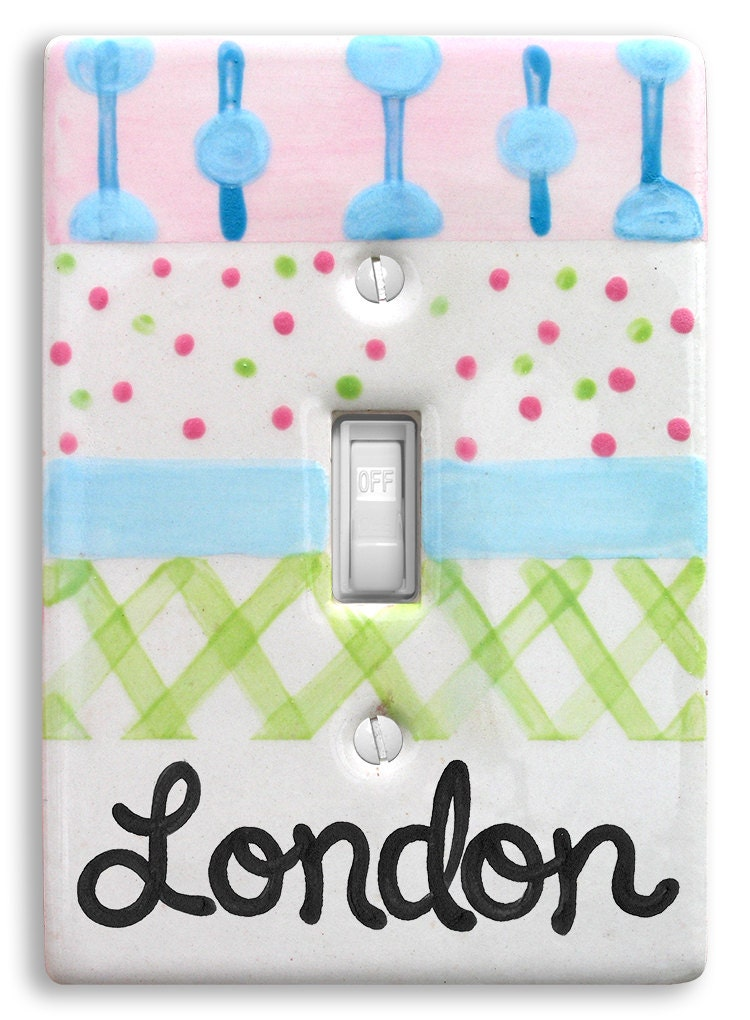 Personalized Light Switch Cover Switch Plate Baby Chevron