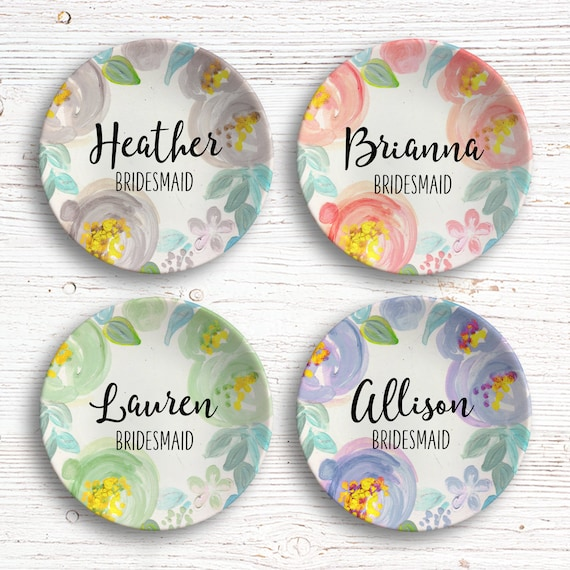 Bridesmaid Ring Dish - Bridal Party Gifts Idea - Personalized Ring Dish - Bridal Shower - Ring Holder - Wedding Party Gift - Jewelry Dish