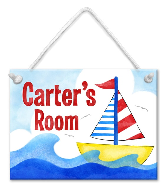 Personalized Kids Sign - Nautical Sailboat