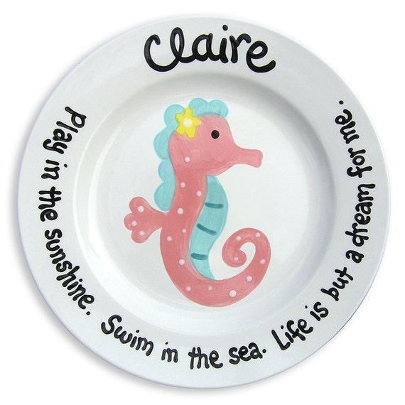 Summer Celebrations - Kids Gift - Flower Girl Gift - Preppy Pink Seahorse - Nautical Personalized Plate  - Under The Sea - Pink Teal Girl