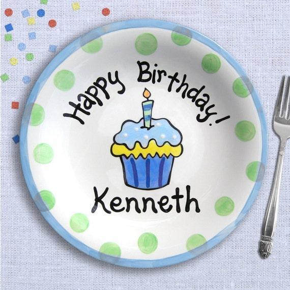 Birthday Boy - Kids Birthday Party - Cake Smash Birthday - Birthday Decoration - Blue Polkadot Cupcake Plate - First Birthday Boy Gift