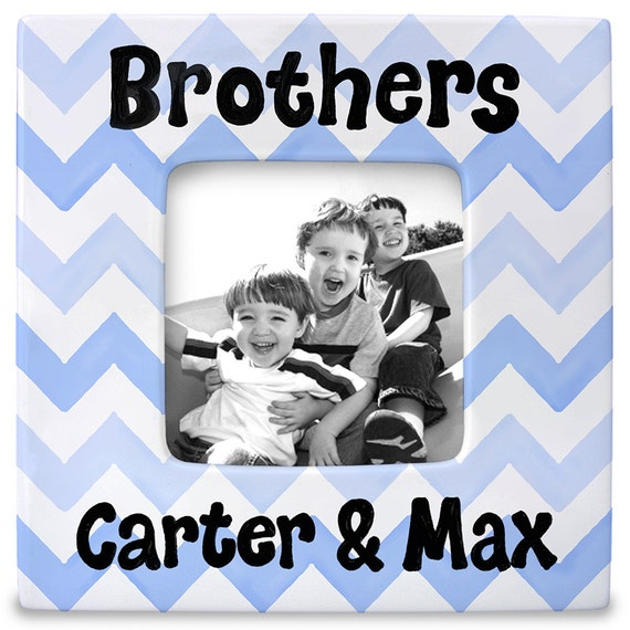 Brother Gift - Blue Chevron - Gift for Brothers - Big Brother - Personalized Picture Frame -  Brothers Frame - Big Brother Gift - Blue Boy