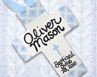 Christening Gift - Baby Dedication Gift - Personalized Baptism Cross - Christening Gifts for Boys - Boys Baptism Gift, Boys First Communion