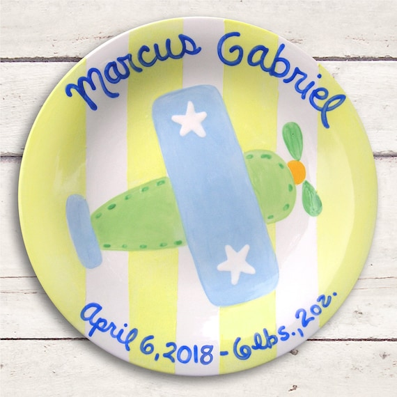 Airplane Baby -  Airplane Art - Personalized Baby Gift - Personalized Plate - New Baby Boy Gift - Baby Gift -Birth Announcement Plate