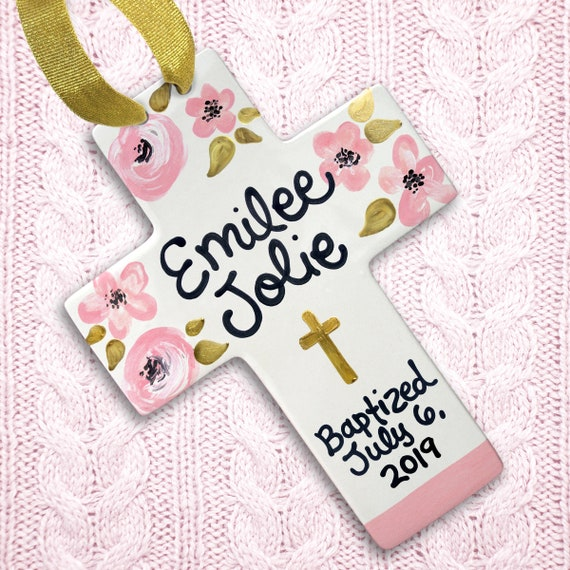 Cross for Baptism - Personalized Baptism Cross - Pink Blush and Gold - Baptism Gift Girl - Girl Baptism Gift Godparents