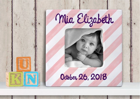 Personalized Baby Picture Frame - Hand Painted Baby Frame - Custom Baby Frame - Personalized Photo Frame - Nursery Frame - Diagonal Stripe