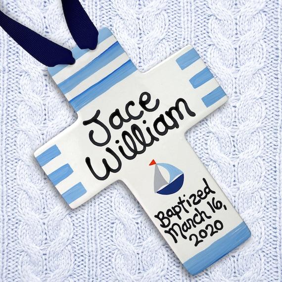 Personalized Baptism Gift, Baptism Gift Boy, Baptism Gift for Boy, Personalized Cross, Blue Stripe Baby, Sailboat Art, Nautical Nursery