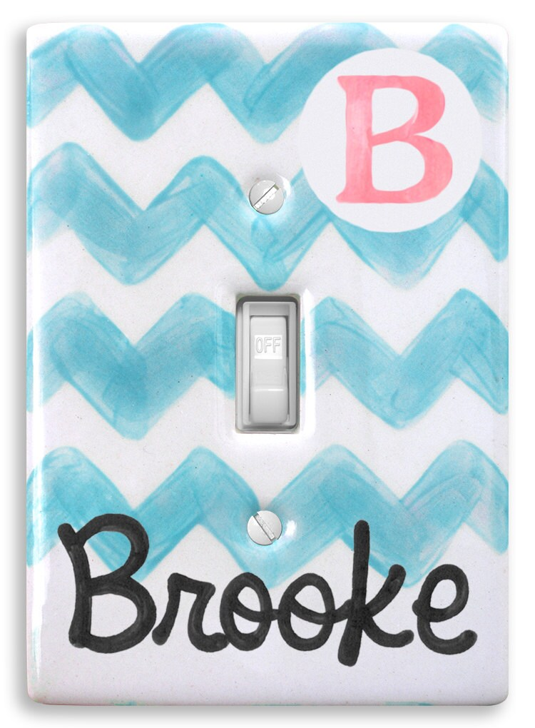 Personalized Preppy Light Switch Cover Plate Baby Chevron Wall
