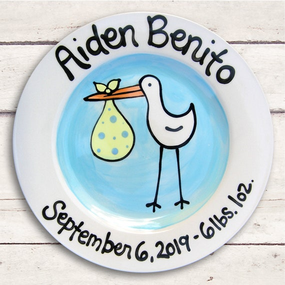 Personalized Baby Boy - Baby Gift - Monogrammed Baby Gift - Baby Shower - Gift for Baby - Blue Stork - Baby Plate Personalized