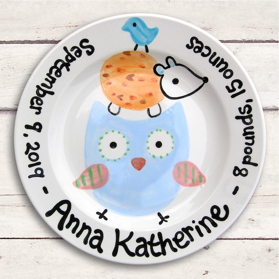 Forest Animals Baby Gift - Personalized Plate - Hand Painted Baby Girl Ceramic  - Custom Made - Hedgehog - Woodland Baby Shower -