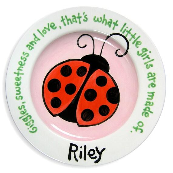 Ladybug Birthday - Ladybug Baby Shower - Ladybug Theme - Ladybug Party - Personalized Ceramic Plate - First Birthday - Lady Bug - Baby Girl