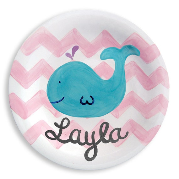 Kids Personalized Preppy Pink Whale Chevron Ceramic Girl Plate  Baby Girl Gift  Keepsake  Hand Painted