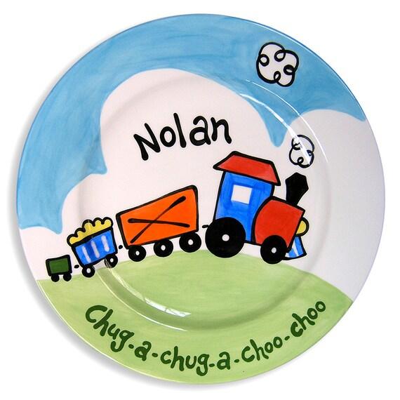 Personalized Hand Painted Train Plate - Coo Choo Train - Kids Dinnerware - Ceramic