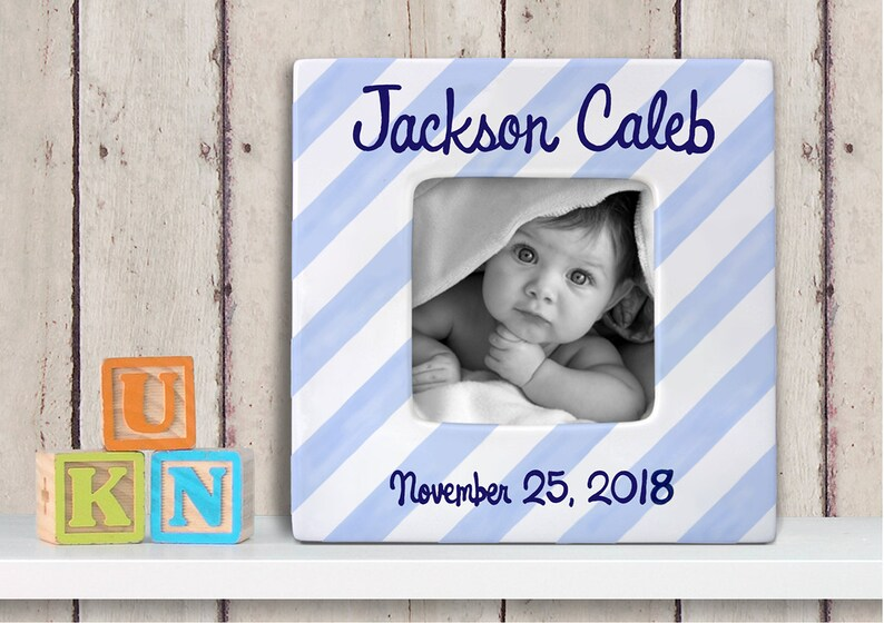 7befdb6105d Personalized Baby Picture Frame - Hand Painted Baby Frame - Custom Baby  Frame - Personalized Photo Frame - Nursery Frame - Diagonal Stripe
