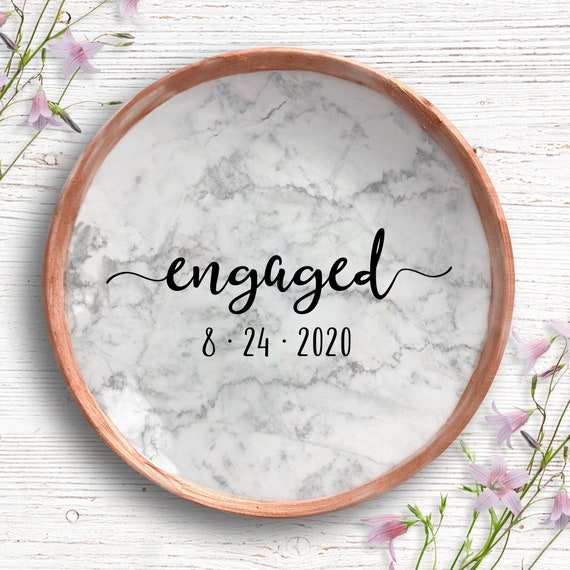 Engaged Marble Ring Dish - Engagement Gift - Personalized Jewlery Dish - Ring Holder for Bride - Engaged AF - Newly Engaged Gift for Couple