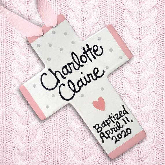 Baptism Gift Girl - Pink Elephant - Personalized Cross - Baptism Gift - Godchild Gift - Baptism Favors - Unique Godchild Gift - Bible Verse