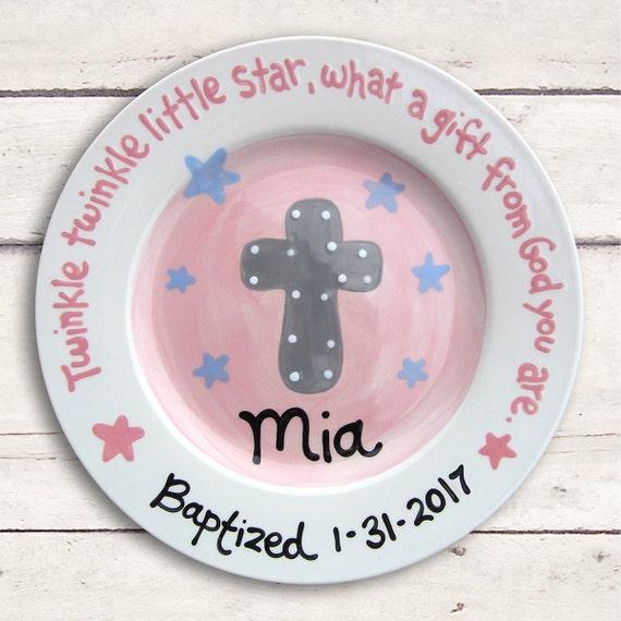 Baptism Gift Girl - Godchild Gift - Godchild Keepsake - Personalized Godchild Gift - Godchild Plate- Unique Godchild Gift - Godchild Card