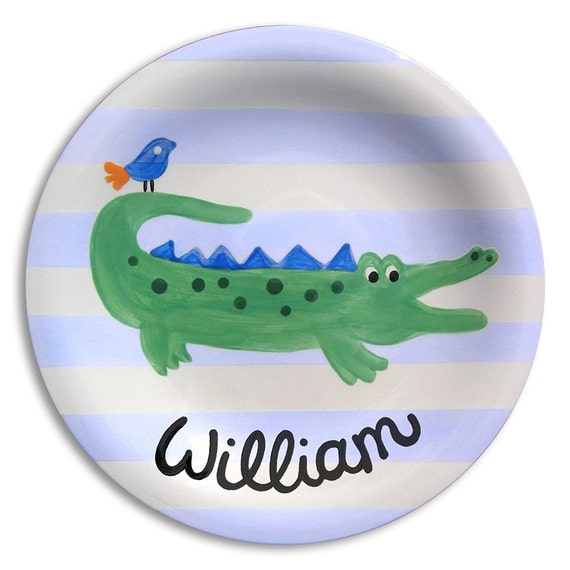 Personalized Kids - Alligator Nursery - Personalized Boy Gift - Navy and Green - Gator Madras - Crocodile - Personalized Ceramic Plate